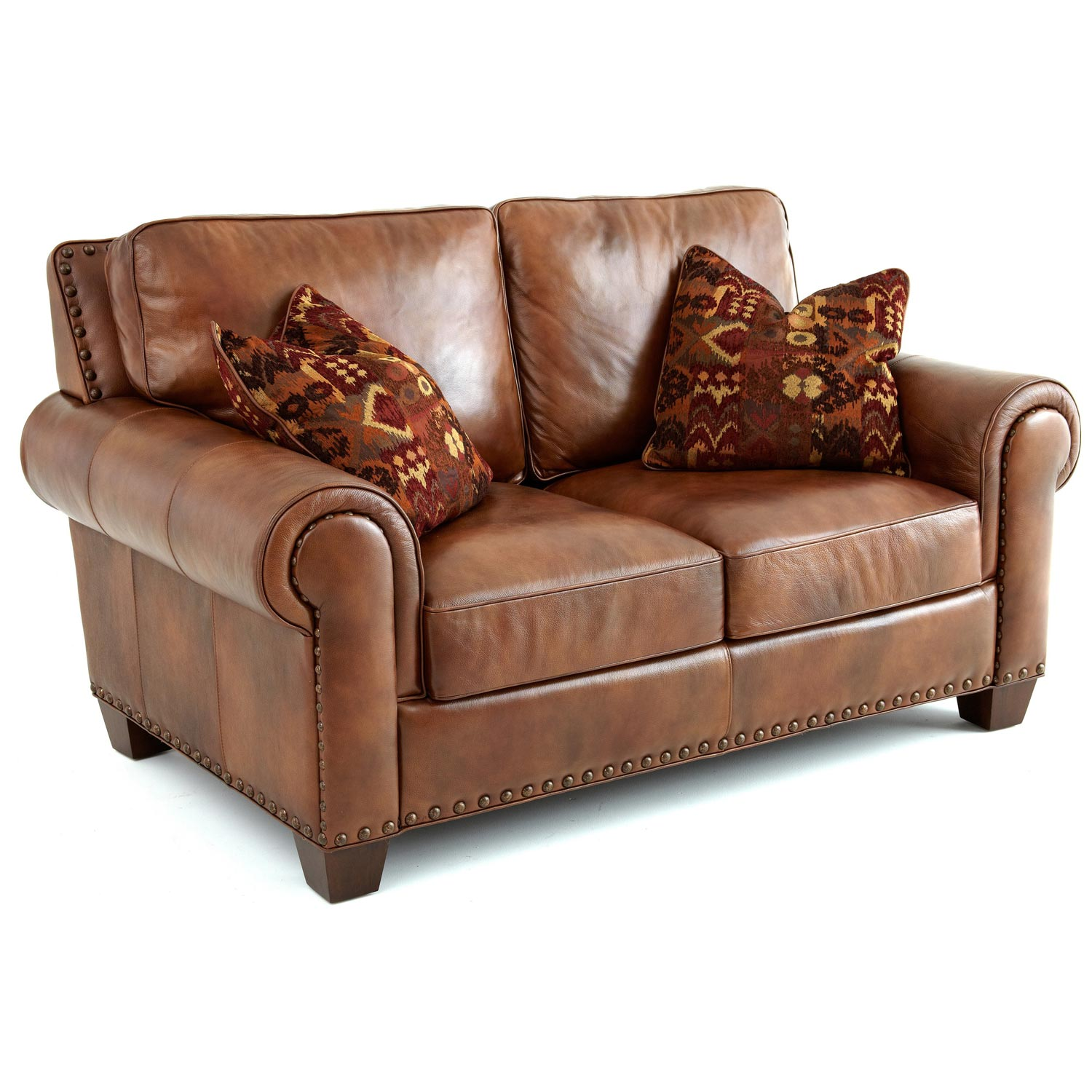 Silverado Loveseat - Rolled Arms, Pillows, Caramel Brown Leather - SSC-SR910L