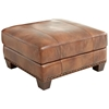 Silverado Ottoman - Nail Heads, Wood Feet, Caramel Brown Leather