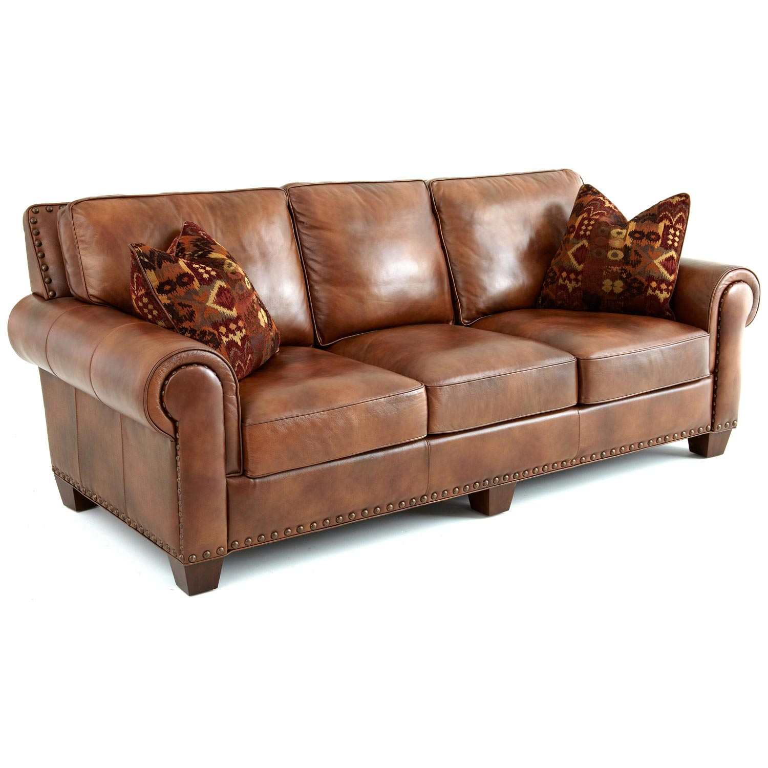 Silverado Sofa - Rolled Arms, Pillows, Caramel Brown Leather DCG Stores