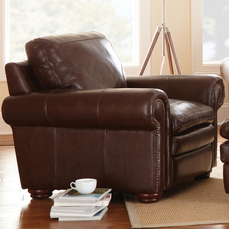 Yosemite Leather Armchair   Wooden Bun Feet, Akron Chestnut   SSC YO900C ...