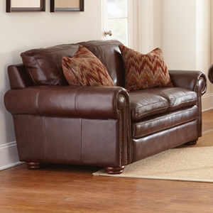 Yosemite Leather Loveseat - Wooden Bun Feet, Akron Chestnut