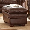 Yosemite Leather Ottoman - Wooden Bun Feet, Akron Chestnut - SSC-YO900T