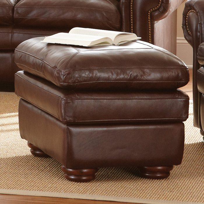 Yosemite Leather Ottoman   Wooden Bun Feet, Akron Chestnut   SSC YO900T ...