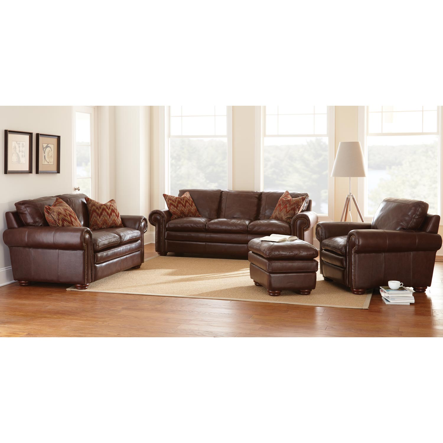 Yosemite Leather Sofa - Wooden Bun Feet, Akron Chestnut - SSC-YO900S