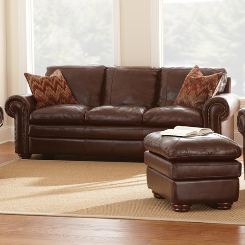 Yosemite Leather Sofa Wooden Bun Feet Akron Chestnut