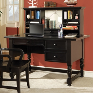 Bella Desk and Hutch in Black Finish