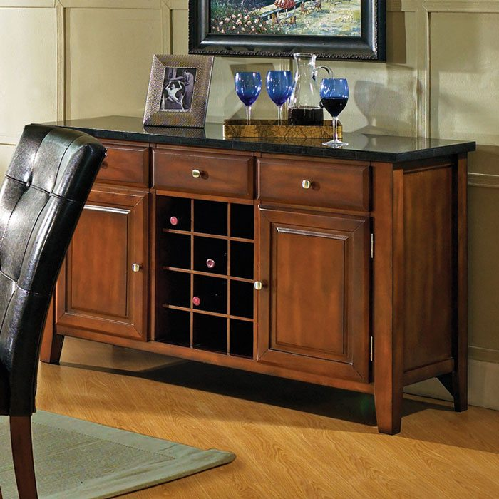 Granite Bello Server with Wine Rack