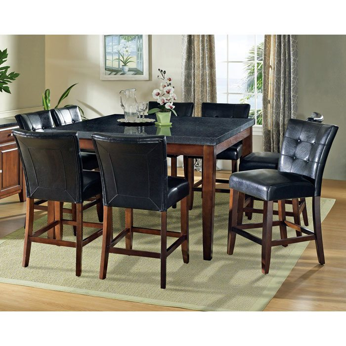 Granite Bello 9 Piece Counter Set with Black Button Tufted Chairs