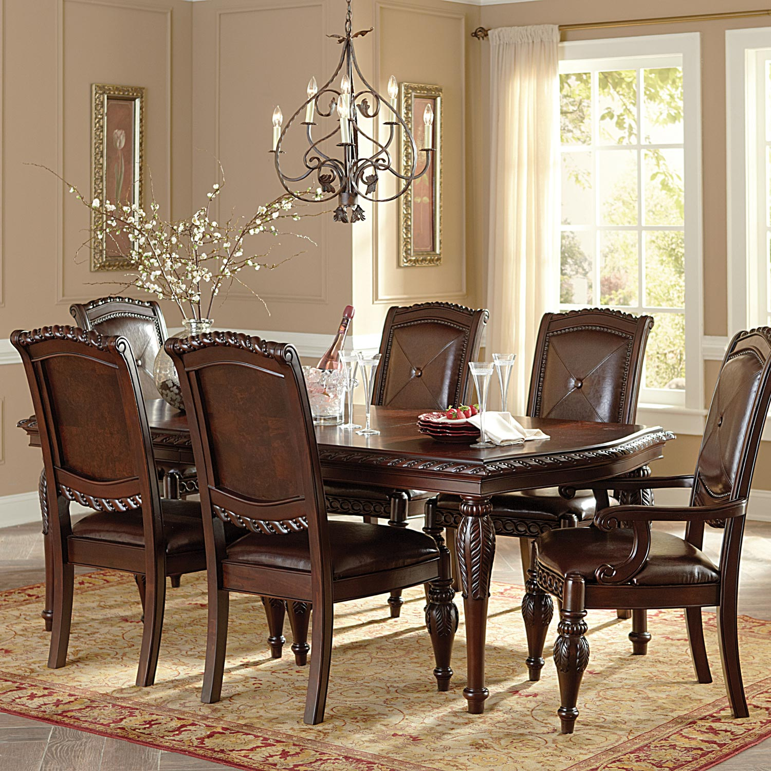 Antoinette 7 Piece Dining Set - Extending Table, Cherry Finish