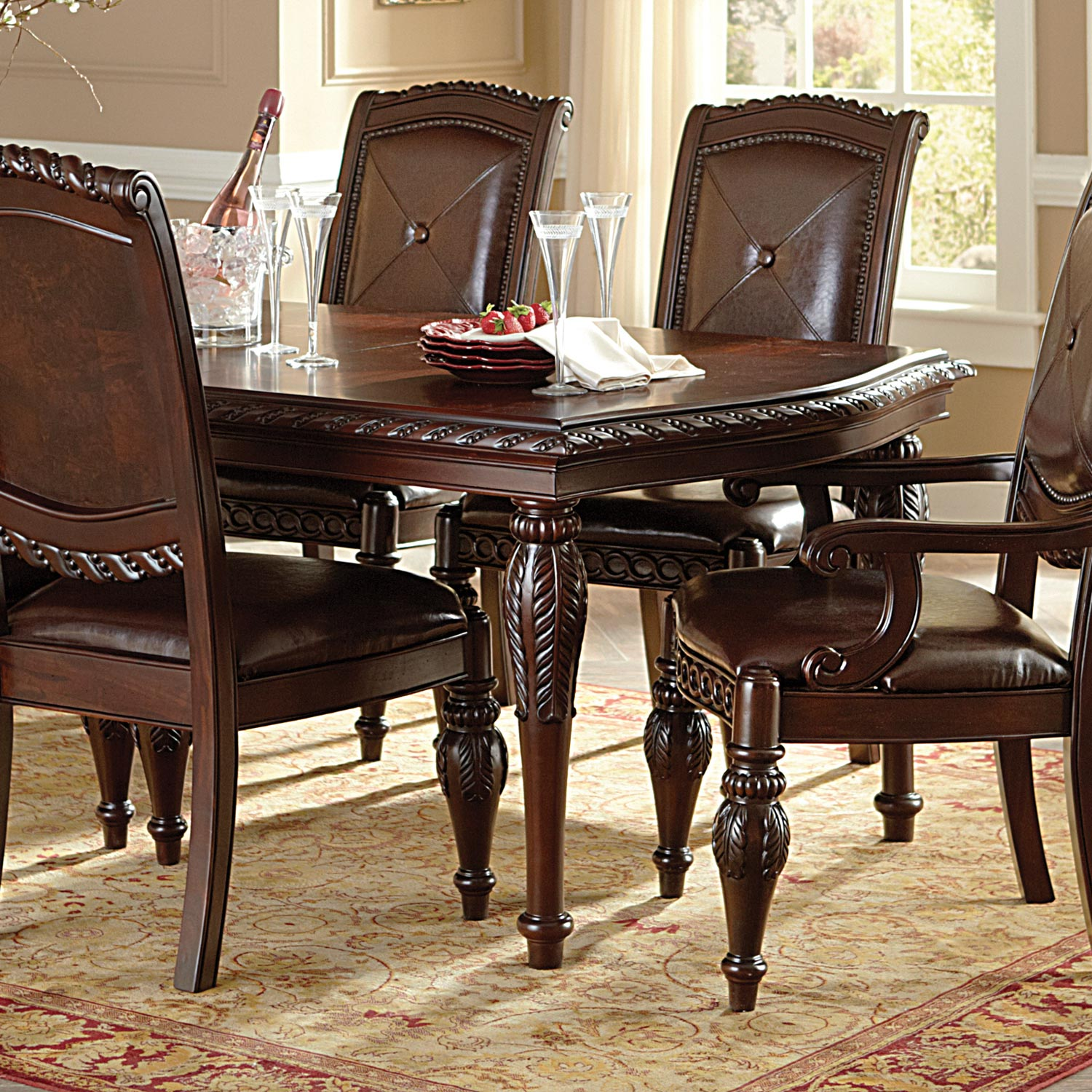 Antoinette 7 Piece Dining Set - Extending Table, Cherry Finish - SSC-AY100-7PC