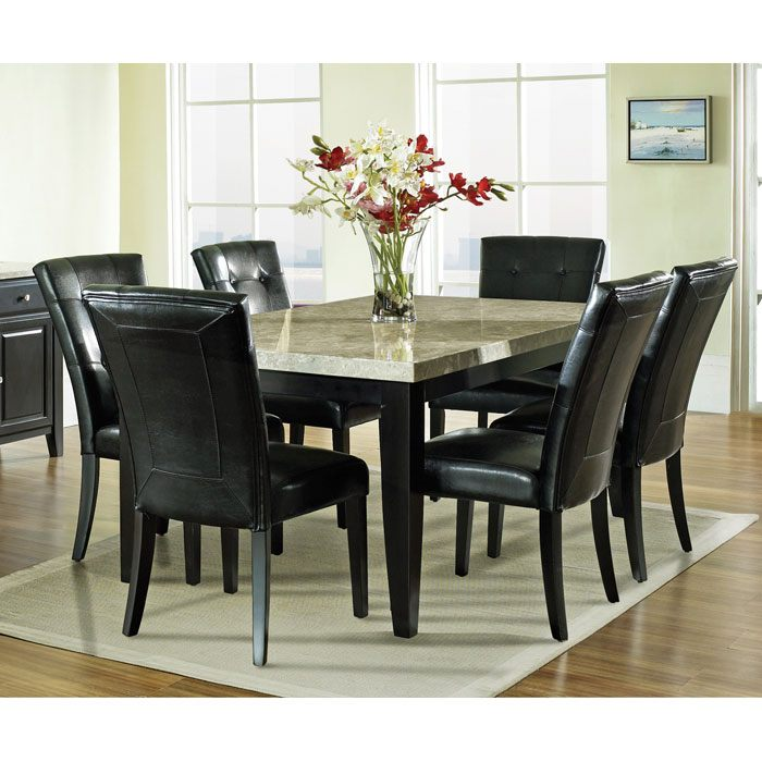 monarch 7 piece contemporary dining set with black chairs dcg stores. Black Bedroom Furniture Sets. Home Design Ideas