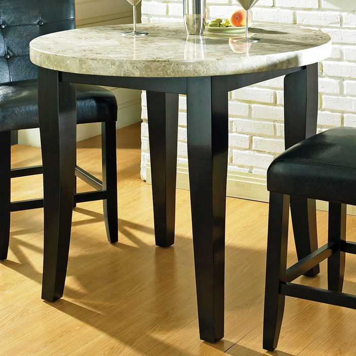 Monarch 3 Piece Counter Set With Round Marble Top Table