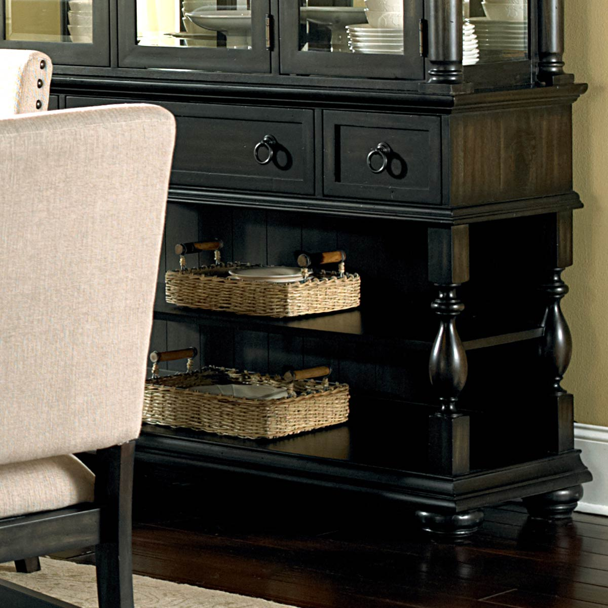 Leona Buffet Table - 3 Drawers, 2 Shelves, Dark Finish - SSC-LY200B