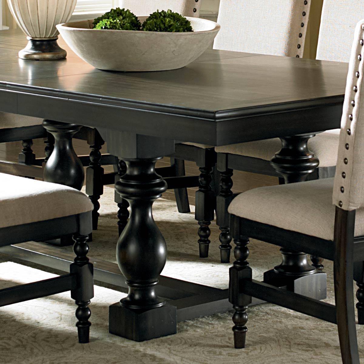 "Trestle Extension Dining Table: 18"" Extension Leaf, Dark"