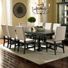 Leona 9 Piece Dining Set Extension Table Fabric Chairs