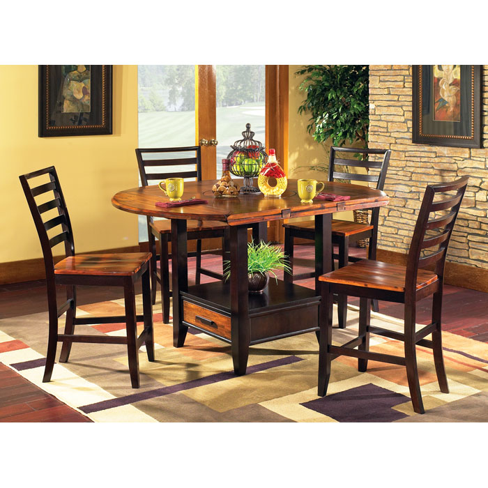 5pc Round Pedestal Drop Leaf Kitchen Table 4 Chairs: Abaco Drop Leaf Pub Table With Four Counter Chairs