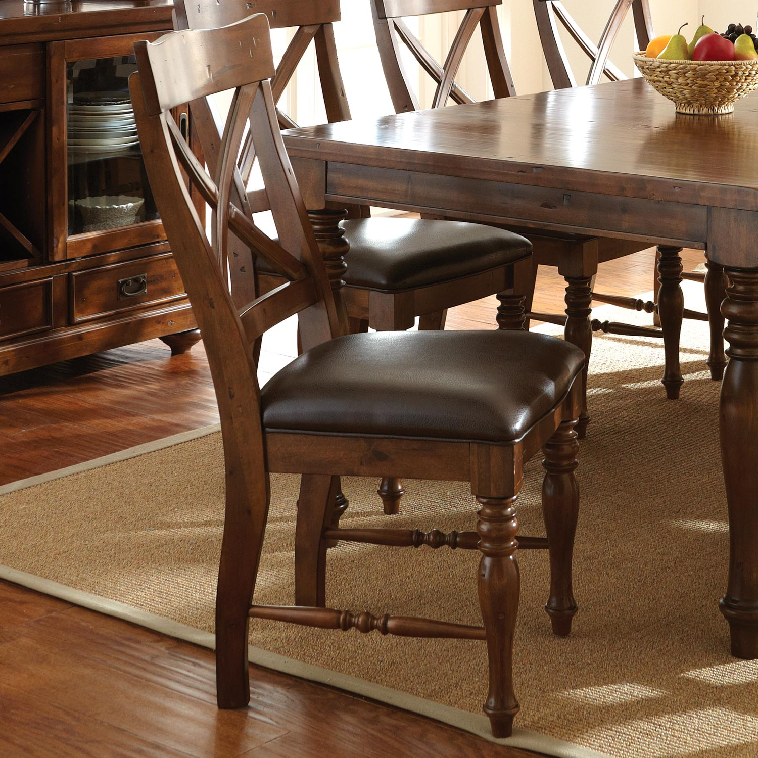 x back dining chairs. Wyndham Extension Dining Set - X Back Chairs, Tobacco Finish SSC-WD500- Chairs