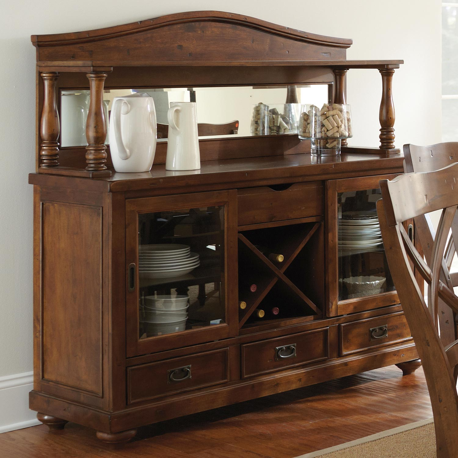 Dining Table And Hutch Set: Wyndham Extension Dining Set