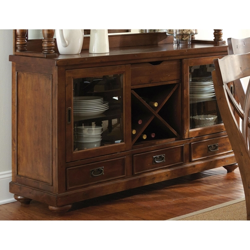 Wyndham Buffet Table Glass Doors Drawers Tobacco