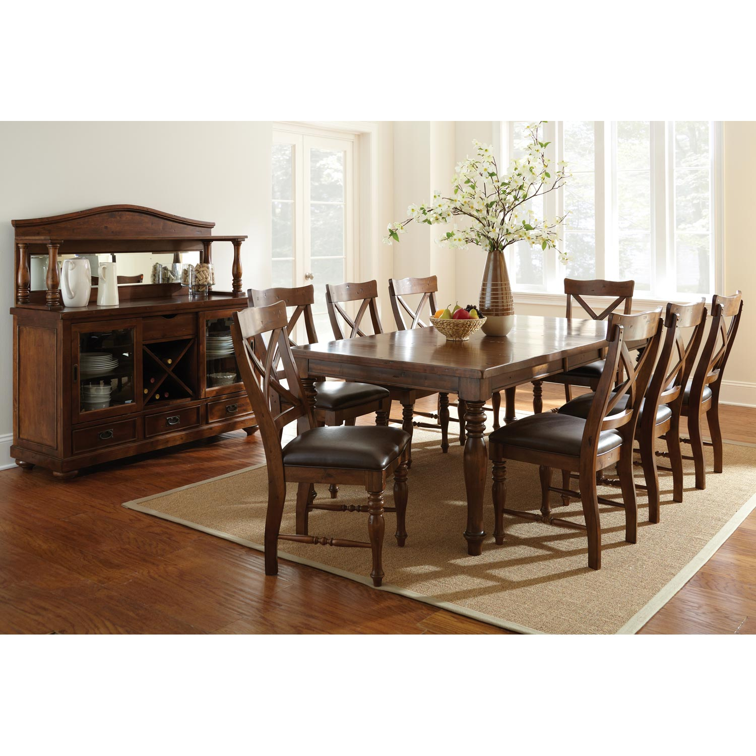 Wyndham Extension Dining Set - X Back Chairs, Tobacco Finish - SSC-WD500-9PC