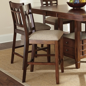 "Bolton 24"" Counter Stool - Beige Seat, Dark Oak Frame (Set of 2)"