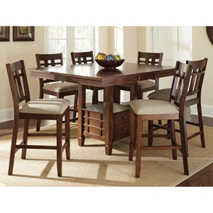 Bolton 7 Piece Counter Set - Extending Table, Dark Oak