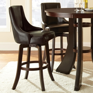 "Brooks 30"" Upholstered Swivel Bar Stool - Brown (Set of 2)"