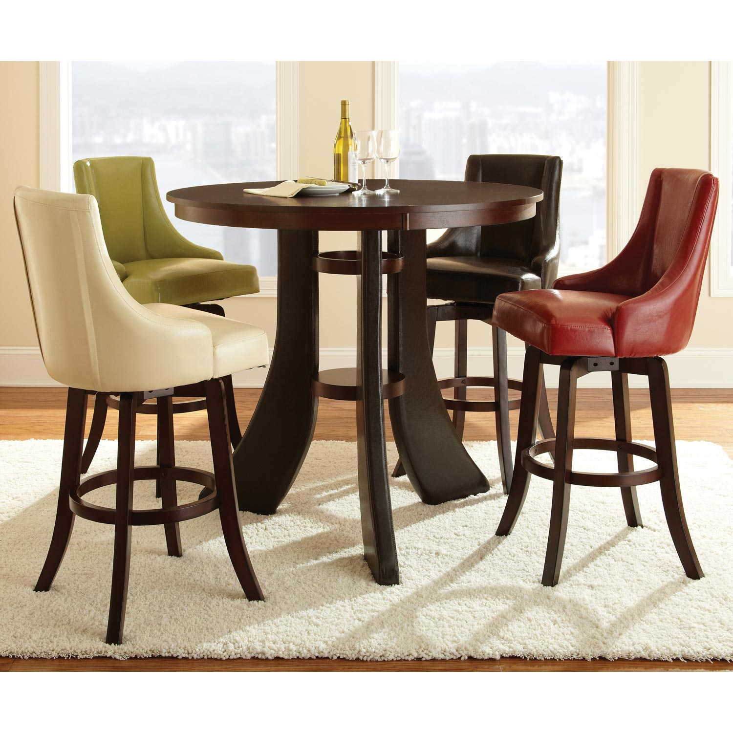 "Brooks 30"" Upholstered Swivel Bar Stool - Red (Set of 2) - SSC-BK550CCR"