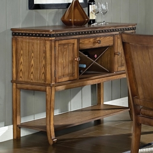 Ashbrook Wooden Sideboard - Antique Nail Heads, Wine Storage