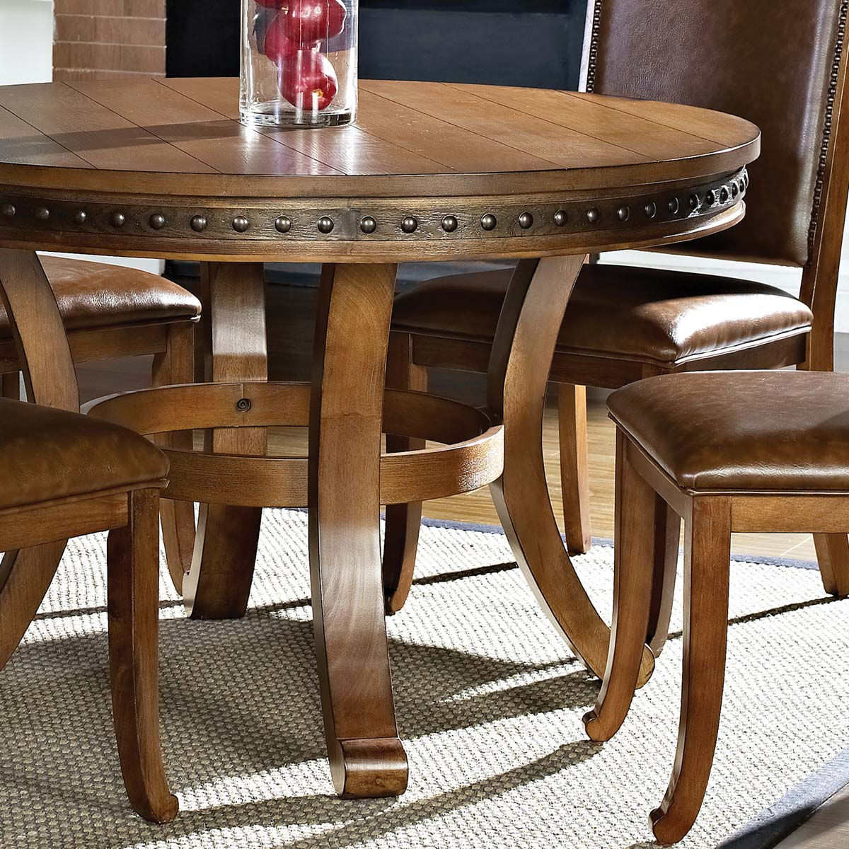 ... Ashbrook 5 Piece Round Dining Set   Nail Heads, Brown, Oak Finish   SSC  ...