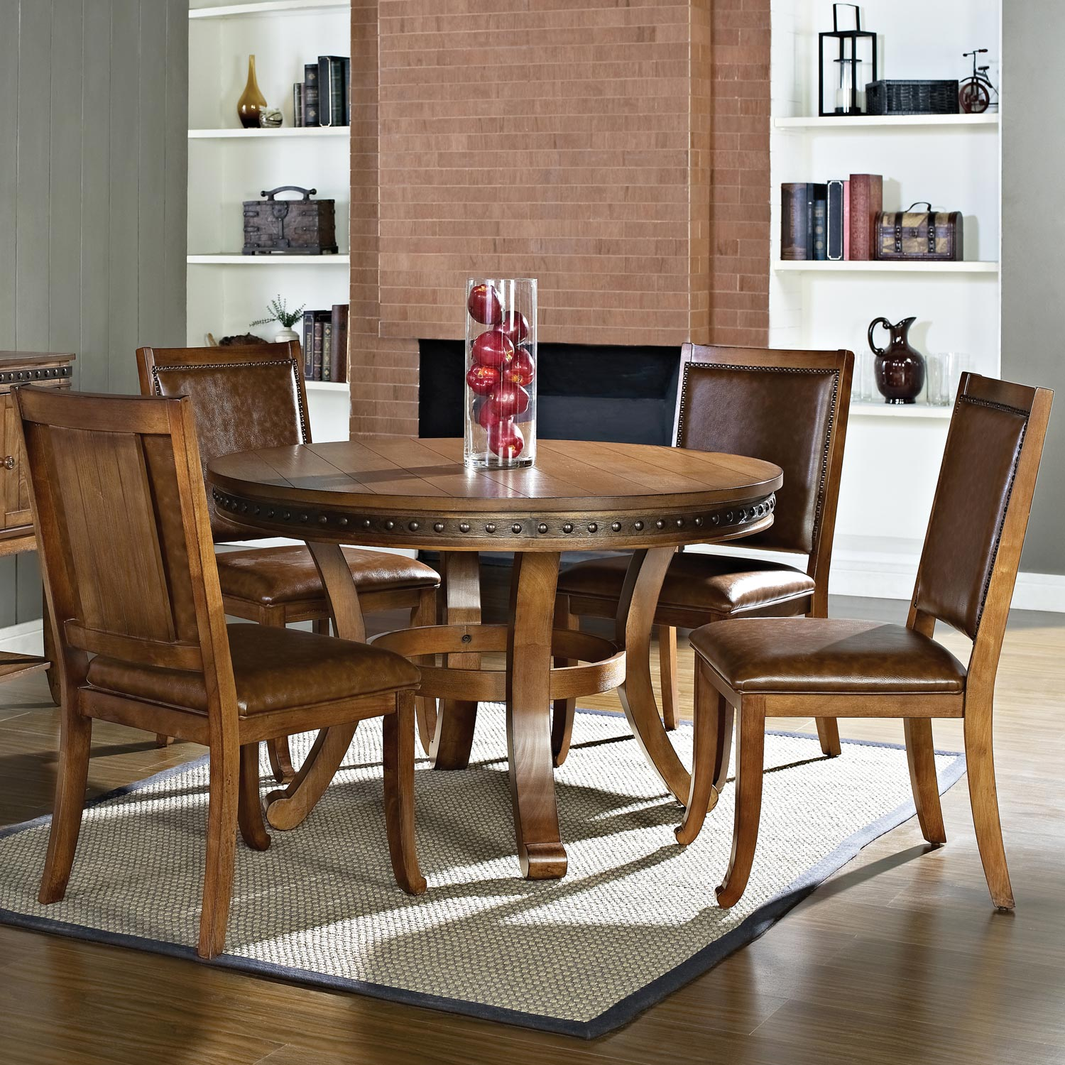 Ashbrook 5 Piece Round Dining Set - Nail Heads, Brown, Oak Finish - SSC-AB480-5PC