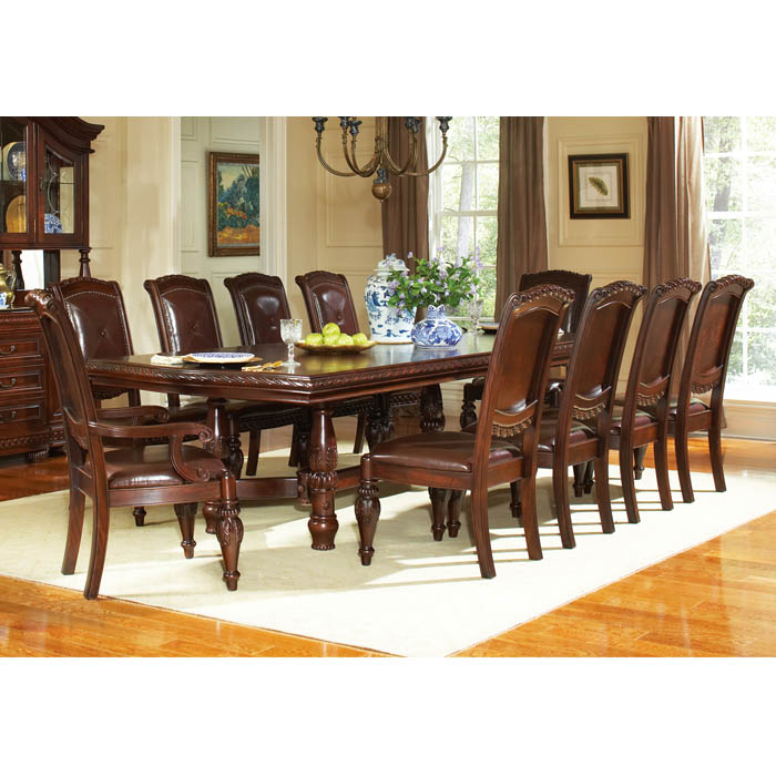 Antoinette 11 Piece Dining Set with Hand Carved Accents
