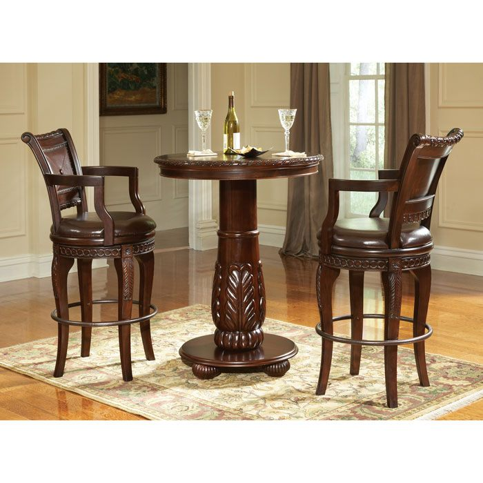 Antoinette Hand Carved Bar Set With Swivel Chairs