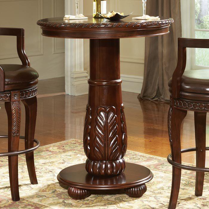 Antoinette Hand Carved Column Base Pub Table