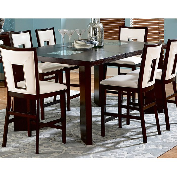 Dining Table With Three Extension Leaves And Six Matching: Delano Contemporary Counter Table With Extension Leaf