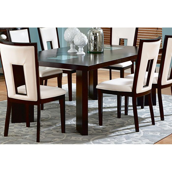 Delano extending dining table with square cracked glass for Cracked glass dining table