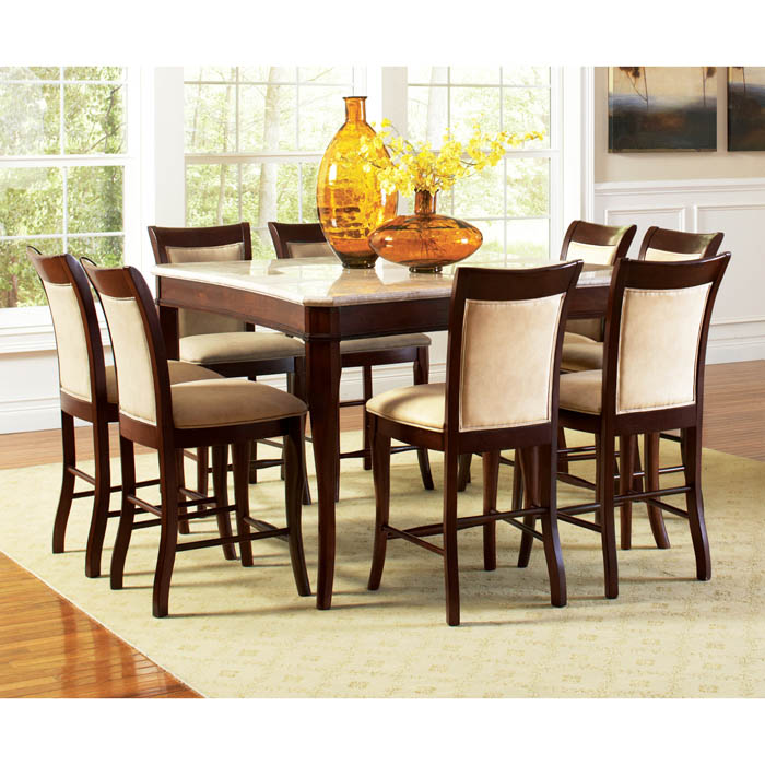 Mille 9 Piece Counter Set With Marble Top Table Ssc Ms Cntr