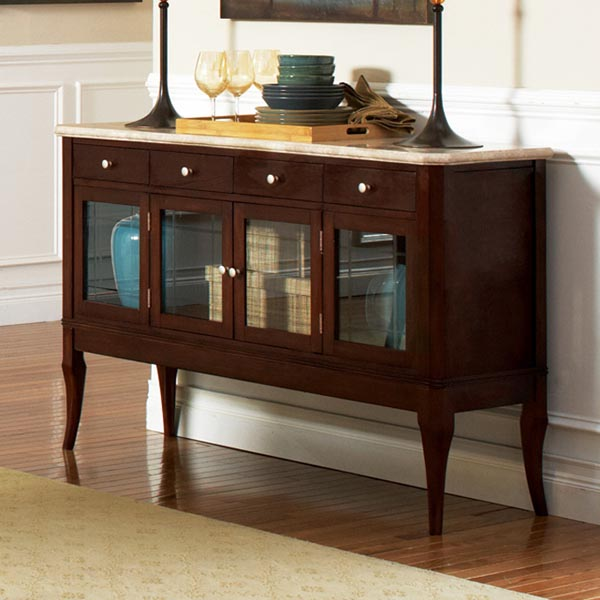 marseille marble top sideboard with glass doors dcg stores. Black Bedroom Furniture Sets. Home Design Ideas