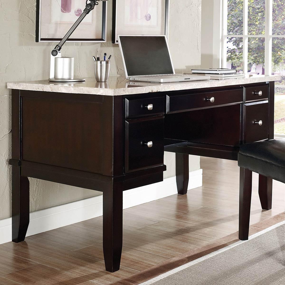 Monarch Home Office Desk   Cream Top, Espresso Wood Base   SSC MC150D ...