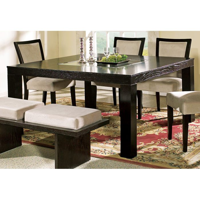 Movado contemporary dining table with glass insert dcg for Kitchen table with glass insert