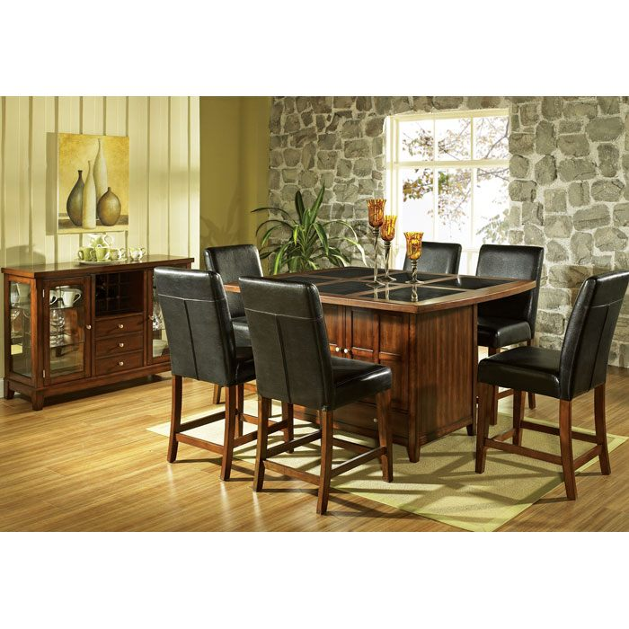 Serena 7 Piece Contemporary Counter Set with Black Chairs - SSC-SERENA-PLATO-7PC