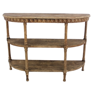 Wood Half-Moon Console Table -2 Shelves