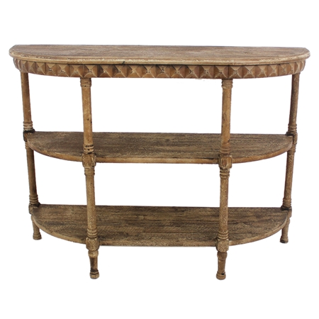 Wood half moon console table 2 shelves dcg stores for Half moon console table