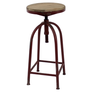 Metal Table - Round Top, Red Base