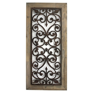 "45.75""H Metal and Wood Wall Plaque"