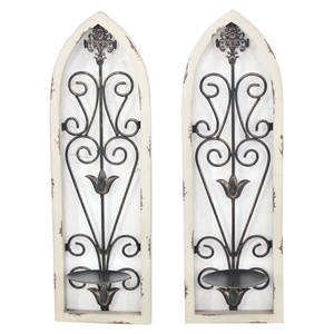 2-Piece Metal and Wood Candle Holder, Rustic White (Set of 2)