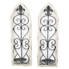 2-Piece Metal and Wood Candle Holder (Set of 2)