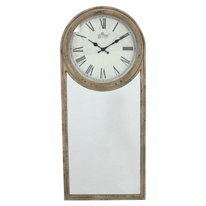 Wood Wall Clock with Mirror (Set of 2)