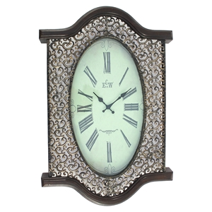 Metal and Wood Wall Clock - Brown (Set of 2)