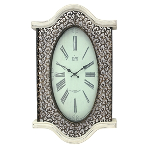 Metal and Wood Wall Clock - White (Set of 2)